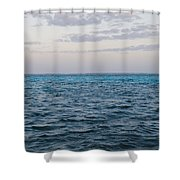 Puffy Clouds On Horizon With Caribbean Shower Curtain