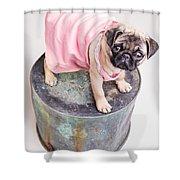 Pug Puppy Pink Sun Dress Shower Curtain