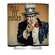 Pull My Finger Poster Shower Curtain
