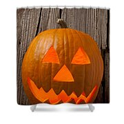 Pumpkin With Wicked Smile Shower Curtain by Garry Gay