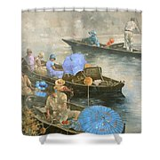 Punts On The Wey At Brooklands Shower Curtain