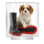 Puppy With Rain Boots Shower Curtain by Jane Burton