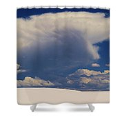 Pure White Sand And Mountain Storms Shower Curtain
