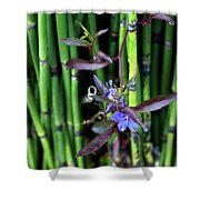 Blue Bursts From Bamboo Shower Curtain