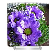 Purple Flowers In The Bubble Shower Curtain