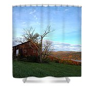 Purple Foot And Autumn Leaves Shower Curtain
