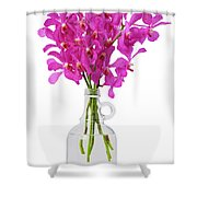 Purple Orchid In Bottle Shower Curtain by Atiketta Sangasaeng