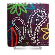 Purple Paisley Garden Shower Curtain