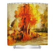 Purple Smoke Tree Shower Curtain