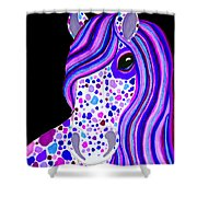 Purple Spotted Horse Shower Curtain