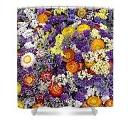 Purple Yellow Orange White Cut Flowers Shower Curtain