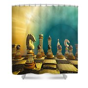 Pushing Back The Knight Shower Curtain