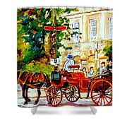 Quebec City Street Scene The Red Caleche Shower Curtain