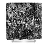 Rabelais: Gargantua And Pantagruel.  Illustration Of The Life Of Gargantua And Of Pantagruel By Fran�ois Rabelais. Wood Engraving, 1873, After Gustave Dor� Shower Curtain