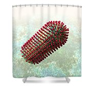 Rabies Virus 2 Shower Curtain by Russell Kightley