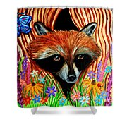 Raccoon And Butterfly Shower Curtain