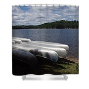 Racks Of Canoe's On Bear Pond Lake In The Adirondacks Ny Shower Curtain