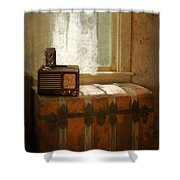 Radio And Camera On Old Trunk Shower Curtain
