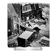 Radio Operator Operates His Scr-188 Shower Curtain