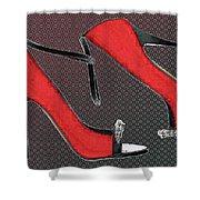Raging Red Open Toed Stilettos Shower Curtain