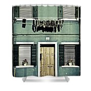 rags in Venice Shower Curtain