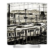 Rail Yard Blues Shower Curtain