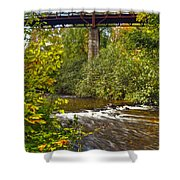 Railroad Bridge 7827 Shower Curtain by Michael Peychich