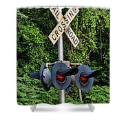 Railroad Crossing Light And Greenery Shower Curtain
