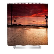 Railroad Sunset Shower Curtain by Cale Best