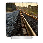 Railroad Tracks At Sundown Shower Curtain