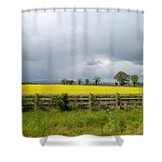 Rain Clouds Over Canola Field Shower Curtain