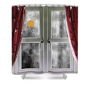 Rain On A Window With Curtains Shower Curtain