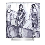 Rainbow 1920s Fashions Shower Curtain