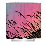 Rainbow Batik Sea Grass Gradient Silhouette Shower Curtain