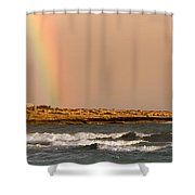 Rainbow By The Sea Shower Curtain by Stelios Kleanthous