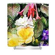 Rainbow Flower Basket Shower Curtain