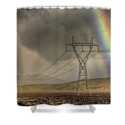 Rainbow Forms Over Powerlines Shower Curtain