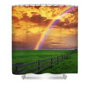 Rainbow In Country Field With Gold Shower Curtain