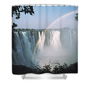 Rainbow In Front Of Victoria Falls Shower Curtain