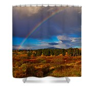 Rainbow Over Rithets Bog Shower Curtain by Louise Heusinkveld