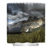 Rainbow Over The Valley Shower Curtain