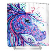 Rainbow Spotted Horse Shower Curtain