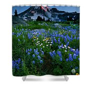 Rainier Wildflower Dawn Shower Curtain by Mike  Dawson