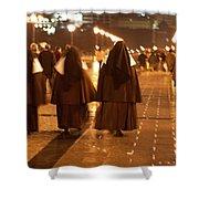 Rainy Night Nuns Shower Curtain