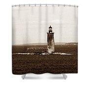 Ram Island Ledge Lighthouse Shower Curtain