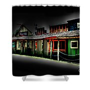 Ranch Buildings - Black Shower Curtain