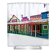 Ranch Buildings - Hdr White Shower Curtain