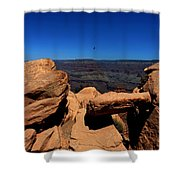 Raven Flying Near Ooh Aah Point Shower Curtain