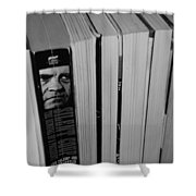 Reading With Dick In Black And White Shower Curtain