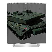 Rear View Of A British Challenger II Shower Curtain by Rhys Taylor